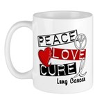 PEACE LOVE CURE Lung Cancer Mug