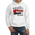 PEACE LOVE CURE Lung Cancer Hooded Sweatshirt