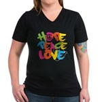 Hope Peace Love Women's V-Neck Dark T-Shirt