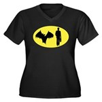 Bat Man Women's Plus Size V-Neck Dark T-Shirt