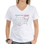 States I've Been To Women's V-Neck T-Shirt