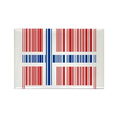 Barcode Norway Flag Rectangle Magnet