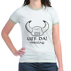 Uff Da! Norway Viking Hat (B&W) Jr. Ringer T-Shirt