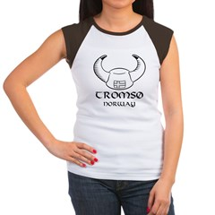 Tromso Norway Viking Hat (B&W) Women's Cap Sleeve T-Shirt