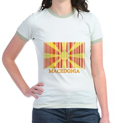 Barcode Macedonia Flag Jr. Ringer T-Shirt