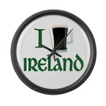 I Love Ireland (beer) Large Wall Clock