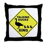 Talking Ducks Crossing Throw Pillow