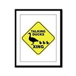 Talking Ducks Crossing Framed Panel Print