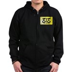 313 License Plate Zip Hoodie (dark)