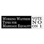 Waitress Types for Marriage Equality car sticker