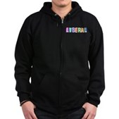 Colorful Retro Liberal Zip Hoodie (dark)