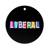 Colorful Retro Liberal Ornament (Round)