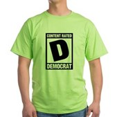 Content Rated Democrat Green T-Shirt