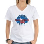 I Survived Snomaggedon Blizzard of 2010 Women's V-Neck T-Shirt