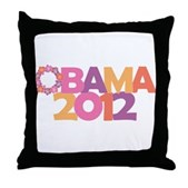 Obama Flowers 2012 Throw Pillow