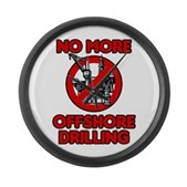 No More Offshore Drilling Large Wall Clock