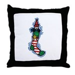 Penguin in a Stocking Throw Pillow