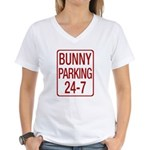 Bunny Parking Women's V-Neck T-Shirt