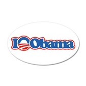 I Love Obama 22x14 Oval Wall Peel