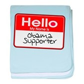 Obama Supporter Name Tag baby blanket