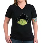 Happy Green Witch Women's V-Neck Dark T-Shirt