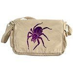 Purple Spider Canvas Messenger Bag