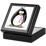 Breast Cancer penguin Keepsake Box
