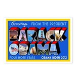 This old-school postcard design features the name Barack Obama filled in with all-American images like a Bald Eagle, a baseball, a hot dog, and Old Glory. Greetings from the President - 4 more years!