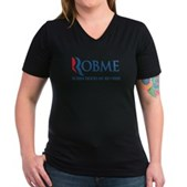 Anti-Romney Rob Me Robin Hood Women's V-Neck Dark
