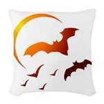 Flying Vampire Bats Woven Throw Pillow