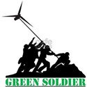 Green Soldier Wind Turbine White T-Shirt