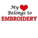 My heart belongs to Embroidery T-Shirt