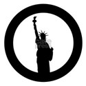 Statue Of Liberty Black Rubber Stamp Icon T-Shirt