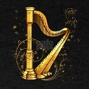 Wonderful harp with clef and floral elements T-Shi