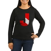 Scuba Flag Letter J Women's Long Sleeve Dark T-Shi
