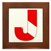 Scuba Flag Letter J Framed Tile
