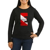 Scuba Flag Letter E Women's Long Sleeve Dark T-Shi