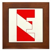 Scuba Flag Letter E Framed Tile