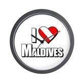 Scuba: I Love Maldives Wall Clock