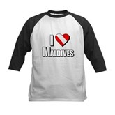 Scuba: I Love Maldives Kids Baseball Jersey