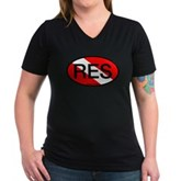 RES Oval Scuba Flag Women's V-Neck Dark T-Shirt