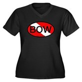 BOW Oval Dive Flag Women's Plus Size V-Neck Dark T