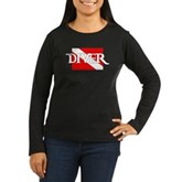 Pirate-style Diver Flag Women's Long Sleeve Dark T