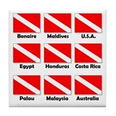 Dive Flags of the World Tile Coaster
